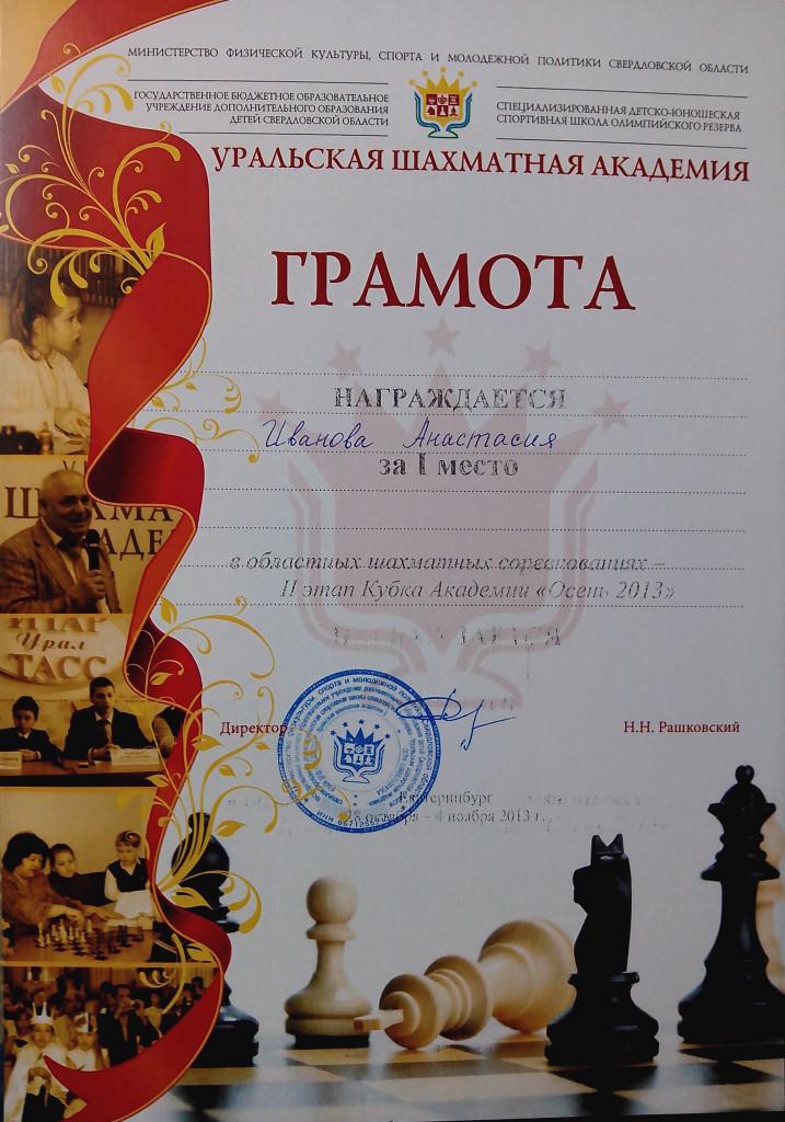 награды по шахматам
